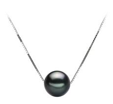 Anhänger mit schwarzen, 8-9mm großen Tihitianischen Perlen in AA-Qualität , Christina