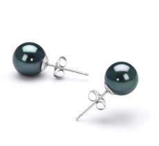 PearlsOnly - Paar Ohrringe mit schwarzen, 7.5-8mm großen Janischen Akoya Perlen in AAA-Qualität , Cindy