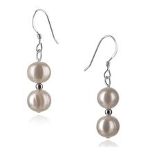 6-7mm A-Qualität Süßwasser Paar Ohrringe in Clarissa Weiß