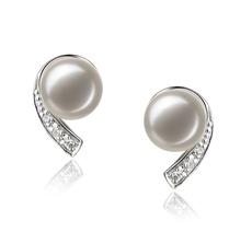 Paar Ohrringe mit weißen, 7-8mm großen Süßwasserperlen in AA-Qualität , Claudia