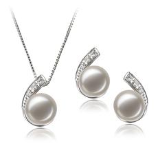 7-8mm AA-Qualität Süßwasser Perlen Set in Claudia Weiß