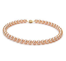 PearlsOnly - Halskette mit rosafarbenen, 8.5-9mm großen Süßwasserperlen in AAAA-Qualität , Coco