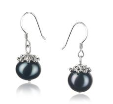 PearlsOnly - Paar Ohrringe mit schwarzen, 8-9mm großen Süßwasserperlen in A-Qualität , Connor