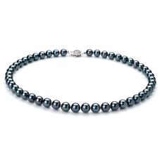 PearlsOnly - Halskette mit schwarzen, 7.5-8mm großen Janischen Akoya Perlen in AAA-Qualität , Constanze
