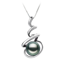 Anhänger mit schwarzen, 8-9mm großen Tihitianischen Perlen in AAA-Qualität , Corinna
