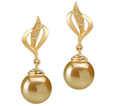 Paar Ohrringe mit goldfarbenen, 10-11mm großen Südseeperlen in AAA-Qualität , Damica