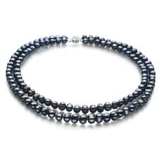 Halskette mit schwarzen, 6-7mm großen Süßwasserperlen in A-Qualität , Eliana