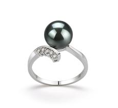 PearlsOnly - Ring mit schwarzen, 8-9mm großen Tihitianischen Perlen in AAA-Qualität , Esther