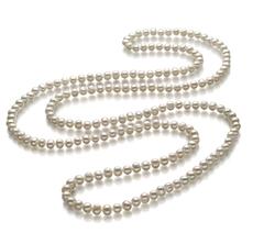 6-7mm A-Qualität Süßwasser Perlenhalskette in Fiona Weiß