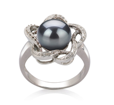 Ring mit schwarzen, 9-10mm großen Süßwasserperlen in AA-Qualität , Flora