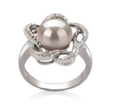 PearlsOnly - Ring mit weißen, 9-10mm großen Süßwasserperlen in AA-Qualität , Flora