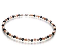 PearlsOnly - Halskette mit mehrfarbigen, 6-7mm großen Süßwasserperlen in AA-Qualität , Florentine
