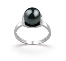 Ring mit schwarzen, 8-9mm großen Janischen Akoya Perlen in AA-Qualität , Francine