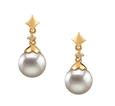 PearlsOnly - Paar Ohrringe mit weißen, 7-8mm großen Janischen Akoya Perlen in AA-Qualität , Gloria