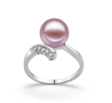 PearlsOnly - Ring mit lavendelfarbenen, 9-10mm großen Süßwasserperlen in AAAA-Qualität , Grace