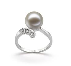 PearlsOnly - Ring mit weißen, 9-10mm großen Süßwasserperlen in AAAA-Qualität , Grace