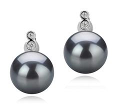 Paar Ohrringe mit schwarzen, 10-11mm großen Tihitianischen Perlen in AAA-Qualität , Hailey