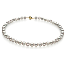 Halskette mit weißen, 7.5-8mm großen Janischen Akoya Perlen in Hanadama - AAAA-Qualität