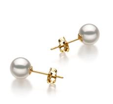 Paar Ohrringe mit weißen, 6.5-7mm großen Janischen Akoya Perlen in Hanadama - AAAA-Qualität