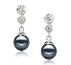 Paar Ohrringe mit schwarzen, 7-8mm großen Janischen Akoya Perlen in AA-Qualität , Helena