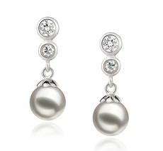 PearlsOnly - Paar Ohrringe mit weißen, 7-8mm großen Janischen Akoya Perlen in AA-Qualität , Helena