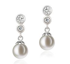 PearlsOnly - Paar Ohrringe mit weißen, 7-8mm großen Süßwasserperlen in AAAA-Qualität , Helena