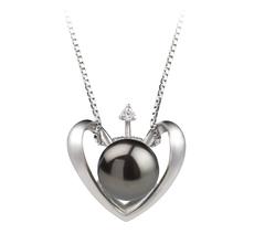9-10mm AA-Qualität Süßwasser Perlenanhänger in Herz Schwarz