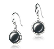 9-10mm AA-Qualität Süßwasser Paar Ohrringe in Holly Schwarz