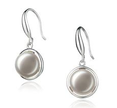 Paar Ohrringe mit weißen, 9-10mm großen Süßwasserperlen in AA-Qualität , Holly