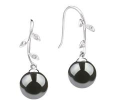 9-10mm AAA-Qualität Tahitisch Paar Ohrringe in Honora Schwarz