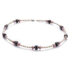 Halskette mit mehrfarbigen, 3-8mm großen Süßwasserperlen in A-Qualität , Ida