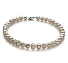 Halskette mit weißen, 10-11mm großen Süßwasserperlen in A-Qualität , Jeanette