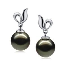 9-10mm AAA-Qualität Tahitisch Paar Ohrringe in Jeannie Schwarz