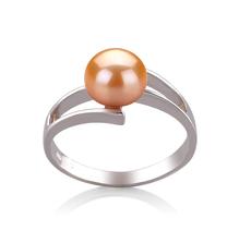 7-8mm AAA-Qualität Süßwasser Perlenringe in Jelena Rosa