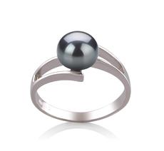 Ring mit schwarzen, 7-8mm großen Süßwasserperlen in AAA-Qualität , Jelena