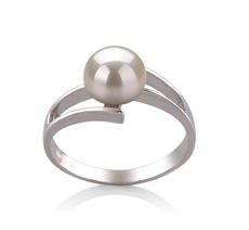 PearlsOnly - Ring mit weißen, 7-8mm großen Süßwasserperlen in AAA-Qualität , Jelena