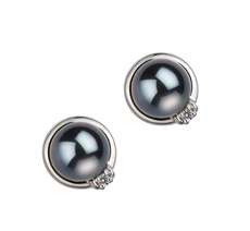 PearlsOnly - Paar Ohrringe mit schwarzen, 6-7mm großen Janischen Akoya Perlen in AA-Qualität , Jolanda