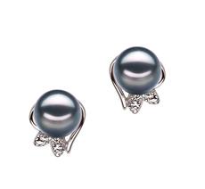 PearlsOnly - Paar Ohrringe mit schwarzen, 6-7mm großen Janischen Akoya Perlen in , Judith