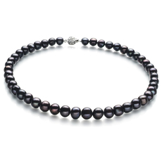 Halskette mit schwarzen, 8-9mm großen Süßwasserperlen in A-Qualität , Kathleen
