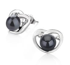 Paar Ohrringe mit schwarzen, 7-8mm großen Süßwasserperlen in AA-Qualität , Katie Heart
