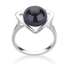 Ring mit schwarzen, 9-10mm großen Süßwasserperlen in AA-Qualität , Katie Heart