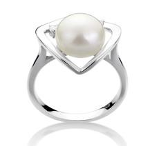 9-10mm AA-Qualität Süßwasser Perlenringe in Katie Heart Weiß