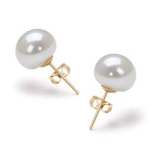 9-10mm AAA-Qualität Süßwasser Paar Ohrringe in Katrin Weiß