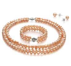 6-7mm A-Qualität Süßwasser Perlen Set in Kayra Rosa