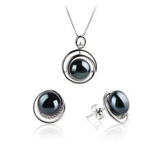 9-10mm AA-Qualität Süßwasser Perlen Set in Kelly Schwarz