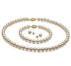 6.5-7mm AA-Qualität Japanische Akoya Perlen Set in Kendra Weiß