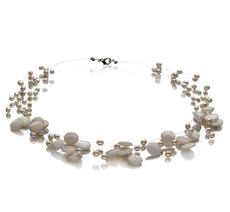Halskette mit weißen, 4-10mm großen Süßwasserperlen in A-Qualität , Kirsten