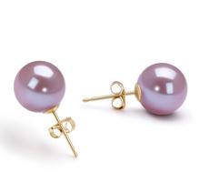 9-10mm AAAA-Qualität Süßwasser Paar Ohrringe in Laurena Lavendel