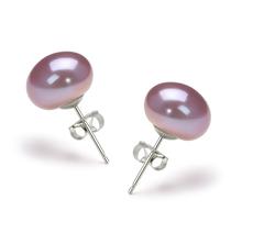 Paar Ohrringe mit lavendelfarbenen, 9-10mm großen Süßwasserperlen in AA-Qualität , Leia