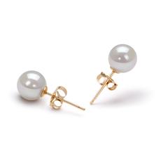 Paar Ohrringe mit weißen, 6-7mm großen Janischen Akoya Perlen in AA-Qualität , Leona